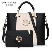 Sunny shop 2017 nueva 2 bolsos/de estilo europeo y americano mujeres bolsa de diseñador de la marca mujeres bolsas de hombro bolso y monedero