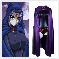 Anime Teen Titans Raven Cosplay Costume Women Sexy Clothes Halloween Party Cloak Jumpsuit