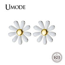 UMODE 2019 New Fashion 925 Sterling Silver Sunflower Stud Earrings for Women Cute White Gold Jewelry Brincos ALE0566
