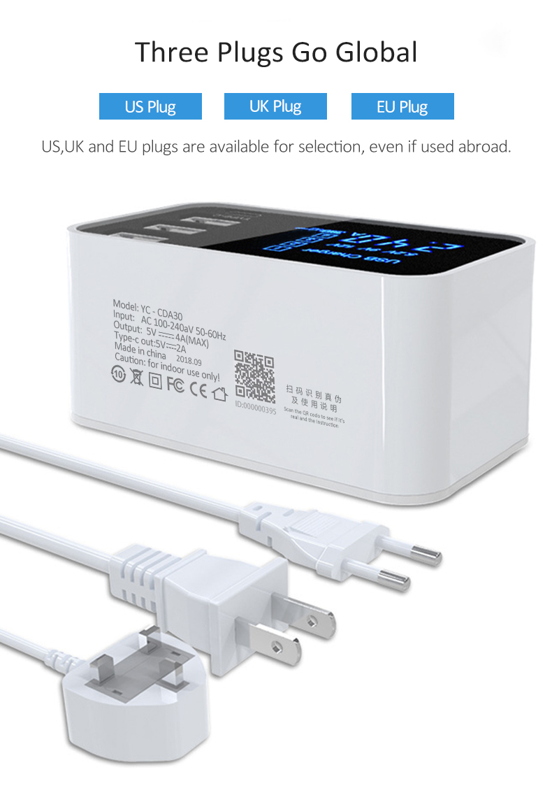Quick Charge 2.0 Smart Type C USB Charger HUB Station (11)