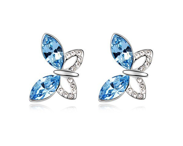 Austria Blue Crystal Animal Cute Butterfly Stud Earrings