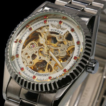relogio masculino Famous Luxury Brand Full steel Women Dress Rhinestone Automatic Mechanical Self Wind Skeleton Watch