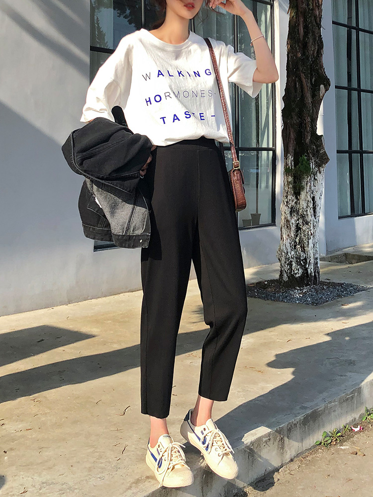 Women Pants Slim Straight Wide legged Wide Leg Pants Korean Edition Loose Nine Points of Harem Pants 2019 Spring NEW in Pants amp Capris from Women 39 s Clothing