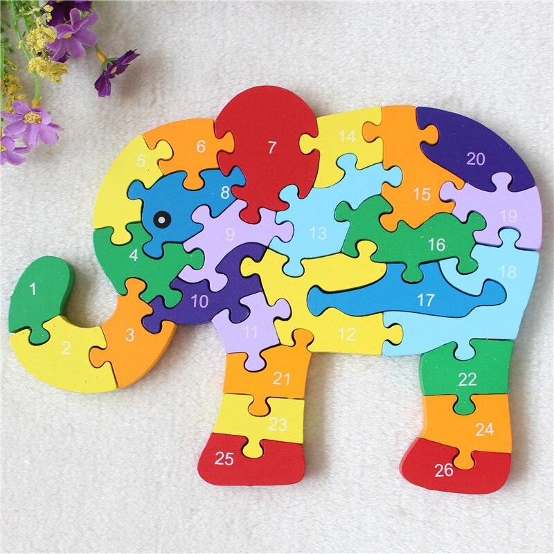 Деревянный пазл Английский алфавит пазл слон животного собраны строительные Детские деревянные игрушки