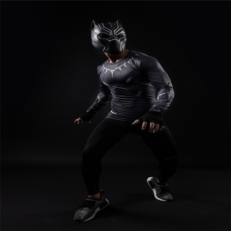 Black Panther 3D Printed T-shirts Men Compression Shirt Captain America long Sleeve Cosplay Halloween Costume For Men Tops Male 2