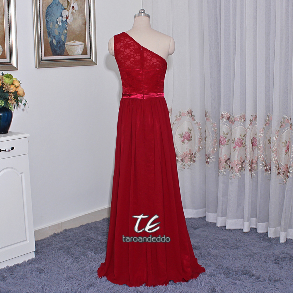 40b988f8d4 Long One Shoulder Lace Bridesmaid Dress F17063 Chiffon and Lace Side Slit  Wedding Party Dress Burgundy Formal Dresses-in Bridesmaid Dresses from  Weddings ...