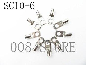 20 piezas 50 Uds SC10-6 acaso, conexión de cobre perno terminal agujero terminales de cable terminales de la batería 10mm de alambre cuadrado