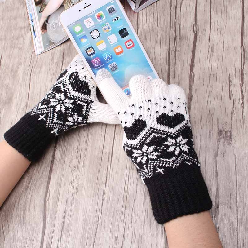 2019 Winter woman warm touch screen gloves unisex knitted Gloves Heart Snowflake