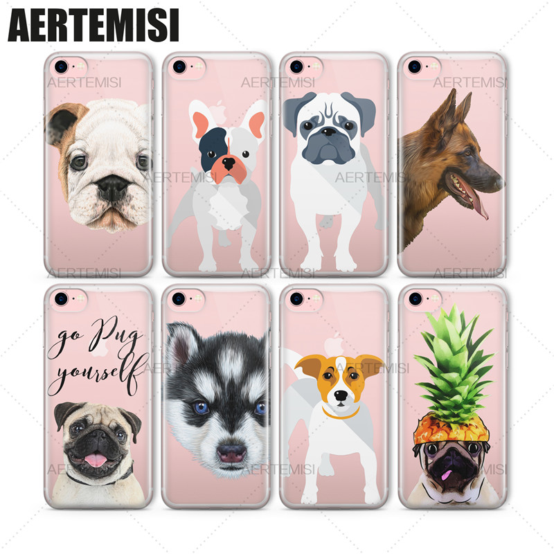 Aertemisi Phone Cases Cute Dogs Animals Transparent Crystal Clear Soft TPU Case Cover for iPhone