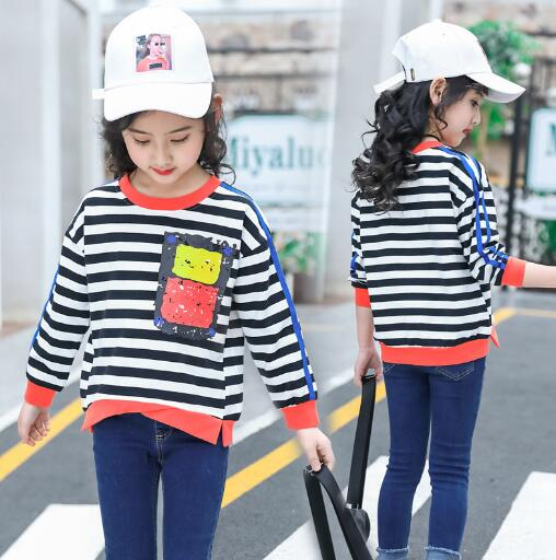 Girls Long Sleeve T-Shirt Kids Spring Autumn Striped Cotton Tops Teenager Clothes Girl T shirts Children 8 10 12 Years Sweatshit