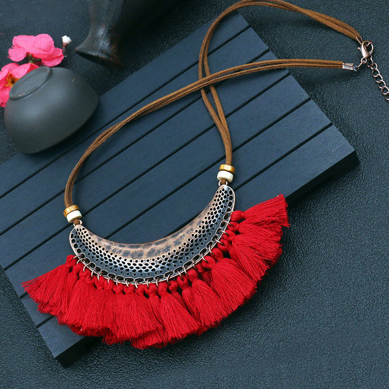 11 Color Ethnic Bohemian Choker Collar Necklace Vintage Cotton Tassel Statement Maxi Long Necklace Women Collier Femme Jewelry in Pendant Necklaces from Jewelry Accessories