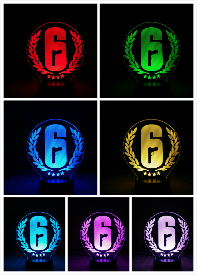 Image 3 - Rainbow Six Siege Night Light LED Touch Sensor 7 Color Changing Child Kids Gift FPS Game Table Lamp Rainbow 6 Logo Bedroom Decor-in LED Night Lights from Lights & Lighting