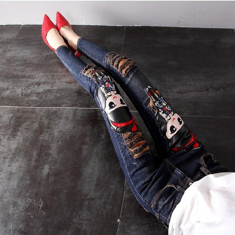 Mezclilla fósforo Pa 2018 Mujeres Europeo Lápiz plush Estilo Todo recorte De Las Los Estudiantes Nuevas Agujero Animados Flaco Del Dibujos Azul Thicken La Manera Vaqueros Pantalones Señoras fxHwY5qgg