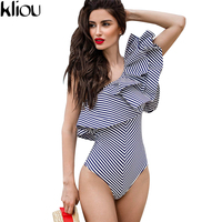 Kliou One Shoulder Ruffles Fitness Bodysuit Women Clothing Fashion Sexy Hot Slim Bodycon Jumpsuit Solid Ladies