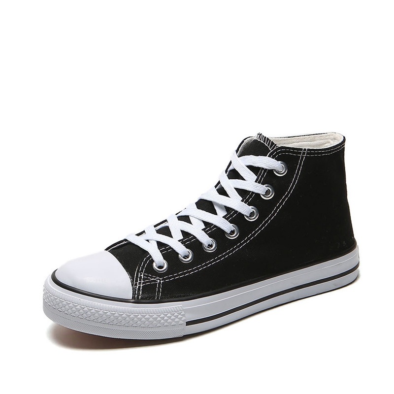 Men's Vulcanized Shoes Solid Lace Up High-top Canvas Shoes Male Fashion Classic White Black Casual Flat Men Shoes BINHIIRO Brand