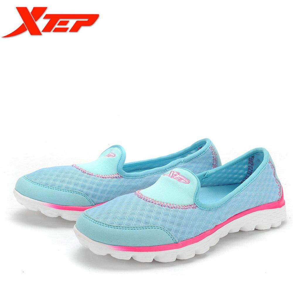 Prix pour XTEP Marque Livraison Gratuite Femmes Dames Rose kawaii printemps d'été glissement sur des Chaussures de marche appartements chaussures Sneakers 985218329505
