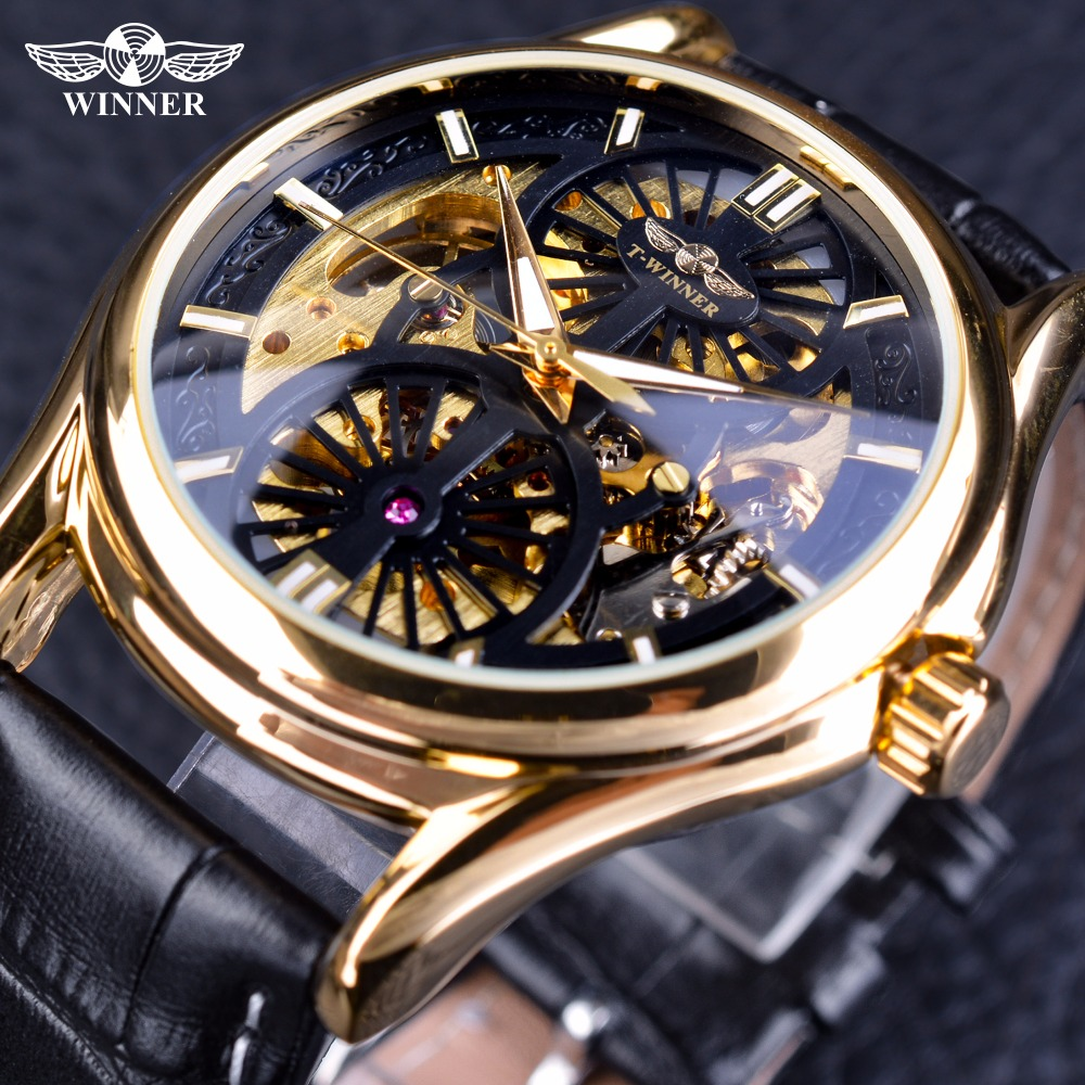 Winner 2018 Golden Gear Movement Inside Skeleton Open Work Leather Men Watch Top Brand Luxury Fashion Automatic Wristwatch Clock ultra luxury 2 3 5 modes german motor watch winder white color wooden black pu leater inside automatic watch winder