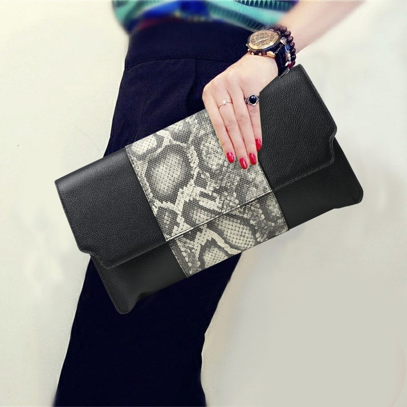 High Capacity Hand Bag Purse Serpentine Genuine Leather Women Evening Clutches Envelope Shoulder Hand Clutch Bag 5 Style Options