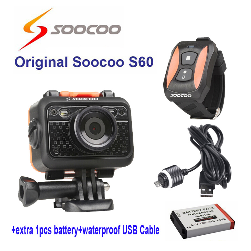 Original SOOCOO S60 WiFi 1080P Sports Action Video Camera 170 Degree Wide Angle Camera +waterproof USB Cable+extra 1pcs battery