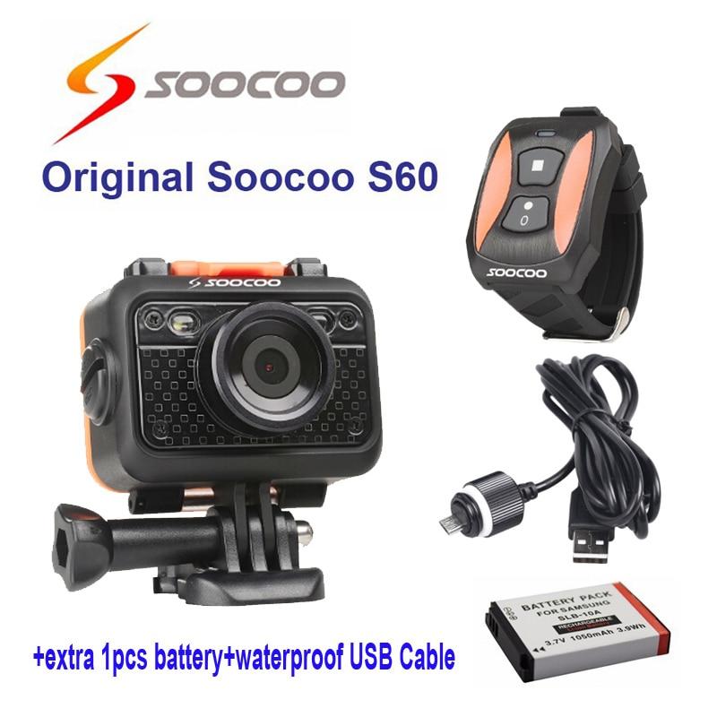 Оригинальный soocoo S60 Wi Fi 1080 P спортивная экшн камера видео Камера 170 градусов Широкий формат Камера + водонепроницаемый USB кабель + экстро аккумулятор 1 шт