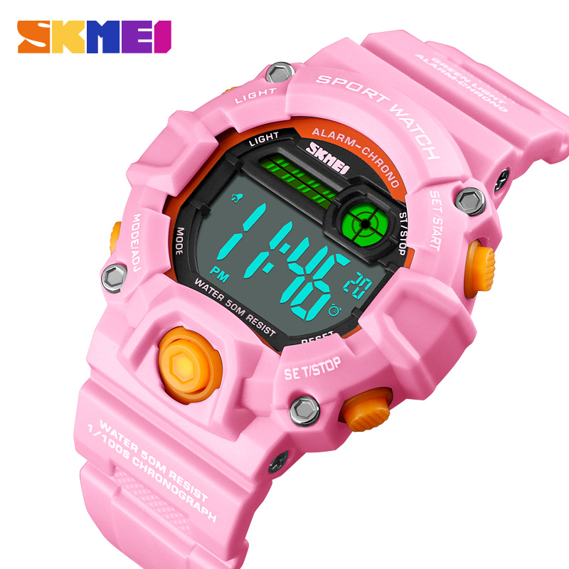 Kids Watches 50 Meters Waterproof  Plastic Shell Children Led Digital Watch For Boys And Girls Child Student Clock SKMEI 2018