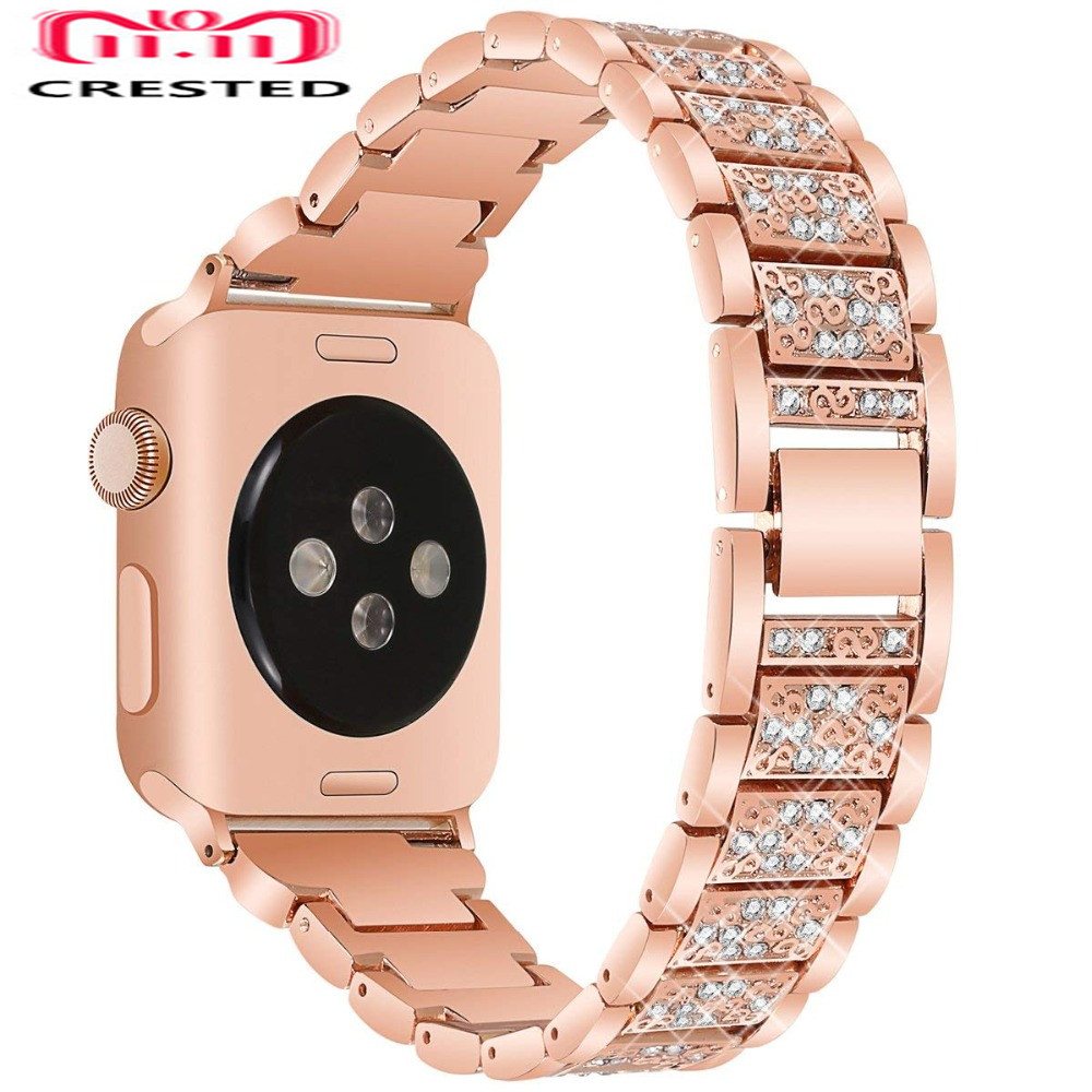 CRESTED Diamond Strap For Apple Watch 4 band 40mm/44mm correa iwatch series 3 2 1 42mm/38mm stainless steel wrist bracelet belt crested stainless steel strap for apple watch 4 band 44mm 40mm correa iwatch series 3 2 1 42mm 38mm wrist link bracelet belt