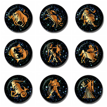 12 Constellations 30 MM Fridge Magnet Zodiac Birthday Gift Note Holder Glass Dome Magnetic Refrigerator Stickers Home Decoration