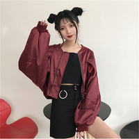Japanese Ultrashort Loose Bomber Jacket Women Thin Lovely Stand Collar Women S Spring Jackets Novelty Casual