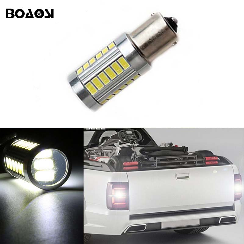 BOAOSI 1x Canbus Car LED Lamp 1156 CREE Chip Backup Reverse Light Bulb for Volkswagen VW jetta Passat B1 B2 B4 B3 B5 B6 T4 T5 2pcs 1156 60w car reverse light ba15s with cree xbd chip led parking lamp p21w backup light for vw golf polo 12v 24v