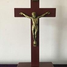 40 см христианский крест из цельного дерева религиозный дом настенные декорации распятие латинский крестный молитва НАД ИИСУСОМ крещение Рождество