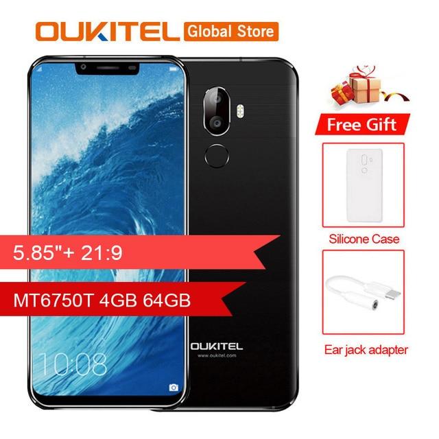 "Original Oukitel U18 5.85"" 21:9 Full Display Face ID MT6750T Octa Core Android 7.0 4GB RAM 64GB ROM 4000mAh 16MP Cellphone"