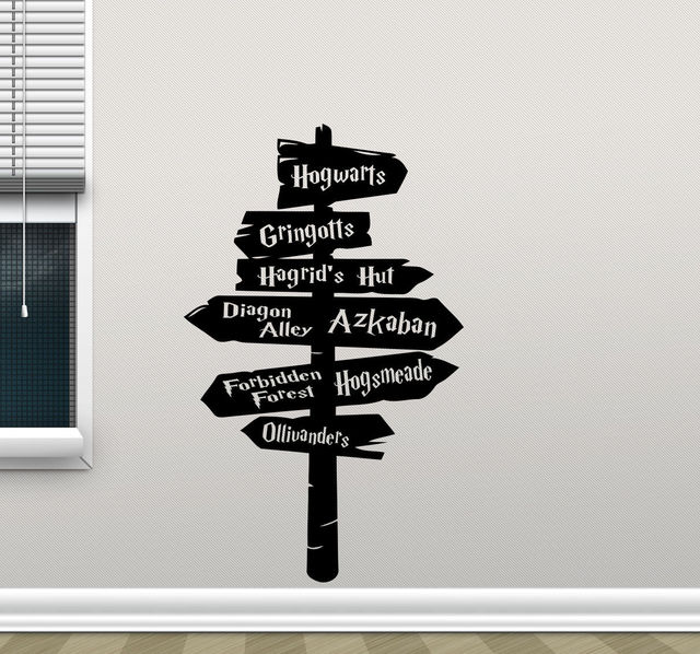 Beautiful Harry Potter Wall Decal Hogwarts Road Sign Vinyl Sticker Home Movie Decor  Free Shipping