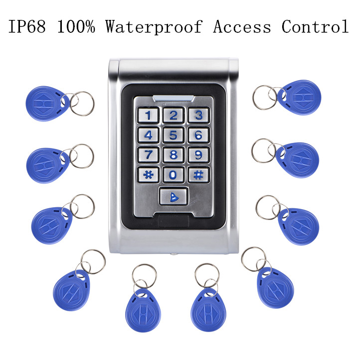 10pcs Fobkey + RFID Proximity 100% Waterpoof IP68 Access Control Keypad+Metal Single Entry Keypad Door Lock Access 10pcs keyfods proximity access control machine door entry single door lock metal keypad access control with 125k card reader
