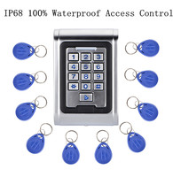 10pcs Fobkey + RFID Proximity 100% Waterpoof IP68 Access Control Keypad+Metal Single Entry Keypad Door Lock Access