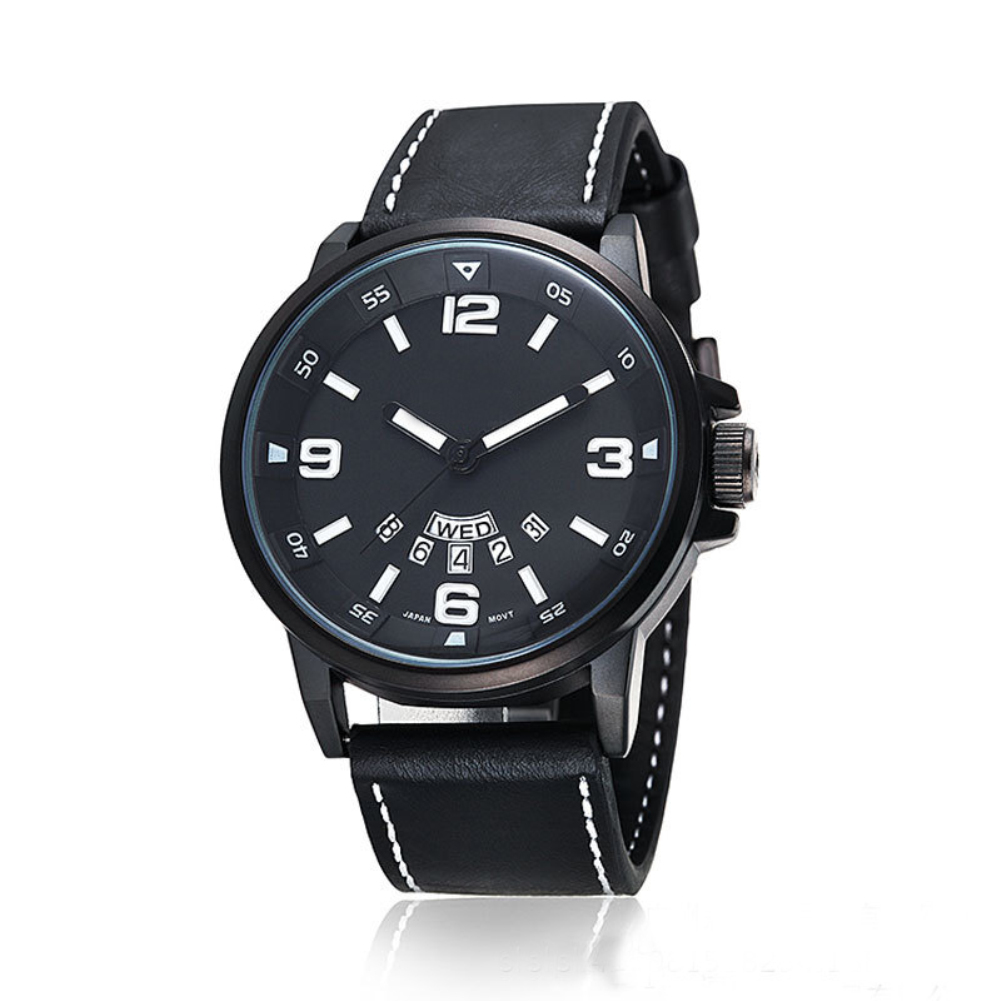 Leather Date Display Waterproof Quartz Business Men Wrist Watch Gift