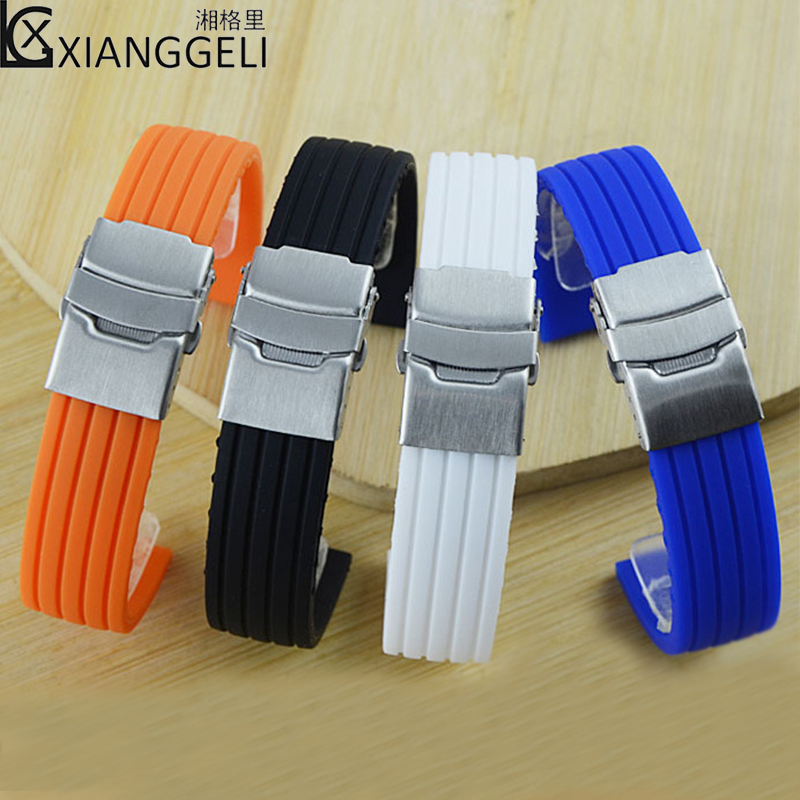 Watch accessories Silicone watch band wild fashionable novel design 14mm---24mm men's and women's sports waterproof Watch band