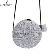 Caker Summer Woven Straw Bag Rattan Brown Black White Beach Handmade Circle Messenger Travel Bags