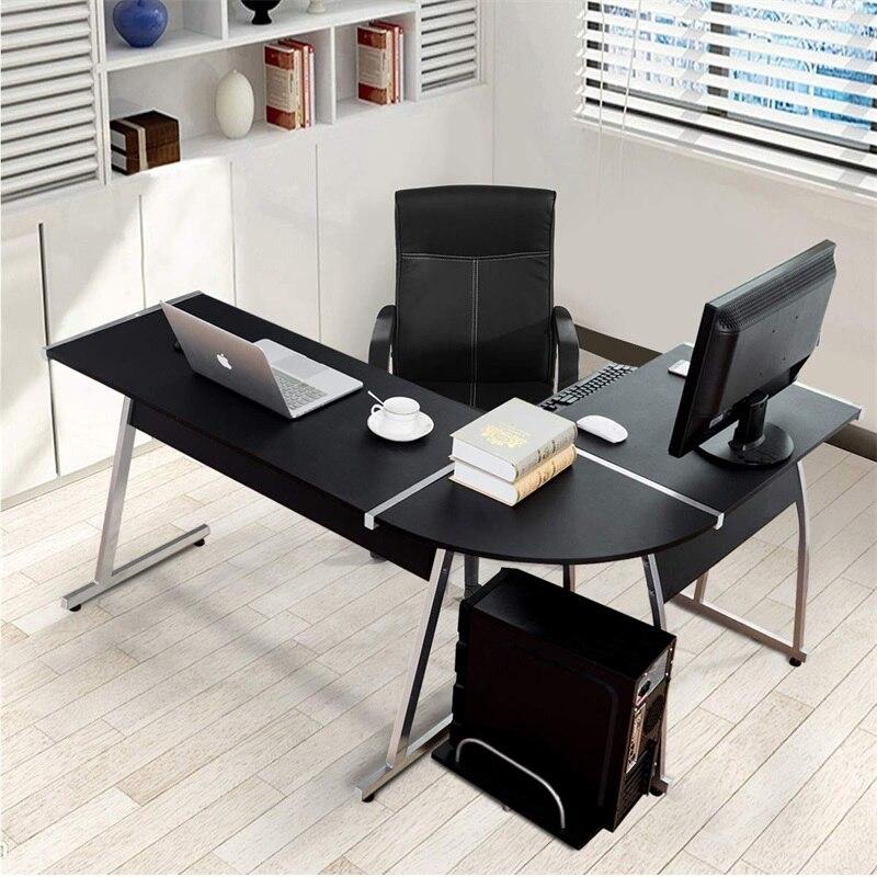 Большой l образный деревянный ПК стол компьютерный стол Современный высококачественный черный компьютерный стол с выдвижным ящиком клавиа