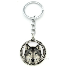 Cool wolf animal keychain vintage silver jewelry plated arct wolf animals pendant key ring geek wolves men jewelry gift T655