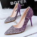 Women fashion purple high heel glitter shoes female thin heel party and wedding pumps bombas de las mujeres lady  casual shoes