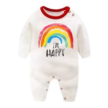 Newborn Autumn Baby Rompers Boys Girls Full-Sleeve Jumpsuit Infant Rainbow Color Outwear Kid Climbing Clothes