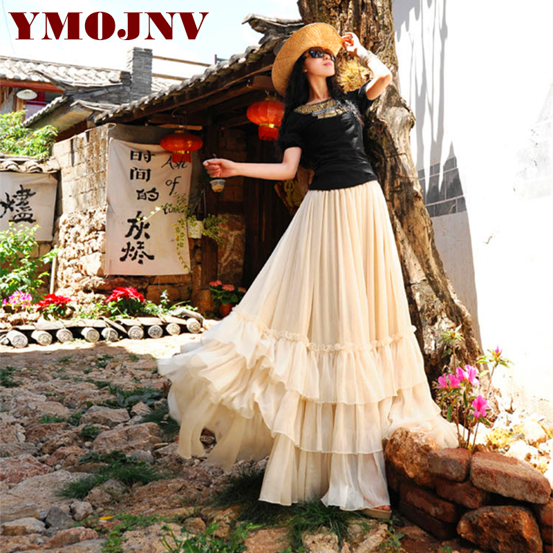 YMOJNV 2018 summer large pendulum skirt snow spun skirt fairy skirt Bohemia long skirt Women все цены