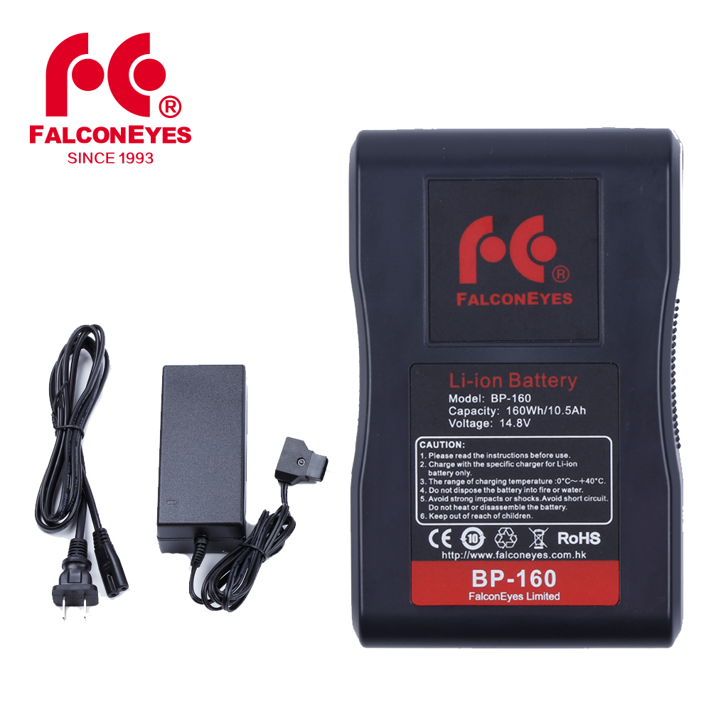 Falcon Eyes BP 160L 10500mAh 14 8V V Mount Battery with Adapter Charger for RX 12TD
