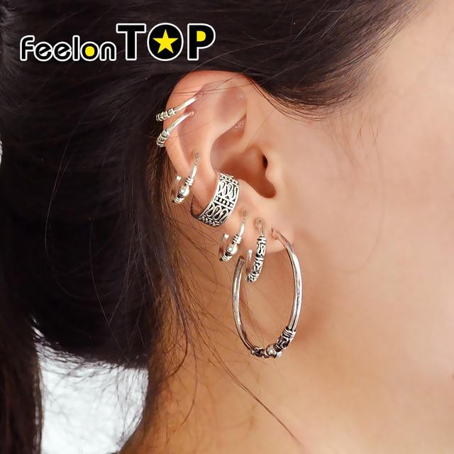 Feelontop 7 Pcs Set Fashion Ethnic Vintage Style Silver Color Geometric Metal Pattern Hoop Earrings