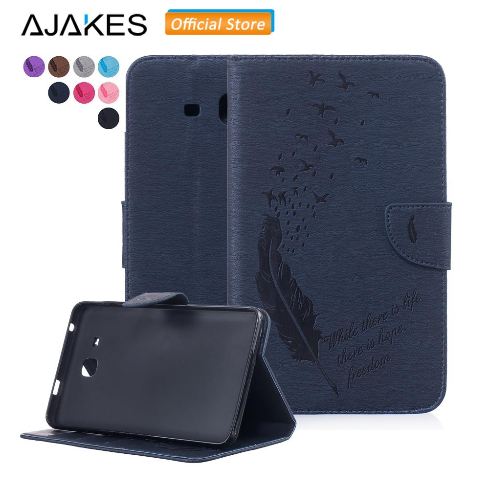 Case for Samsung Galaxy Tab A 7.0 SM-T280 T285 Slim Embossed Stand Leather Magnetic Closure Wallet Card Slots Protective Cover
