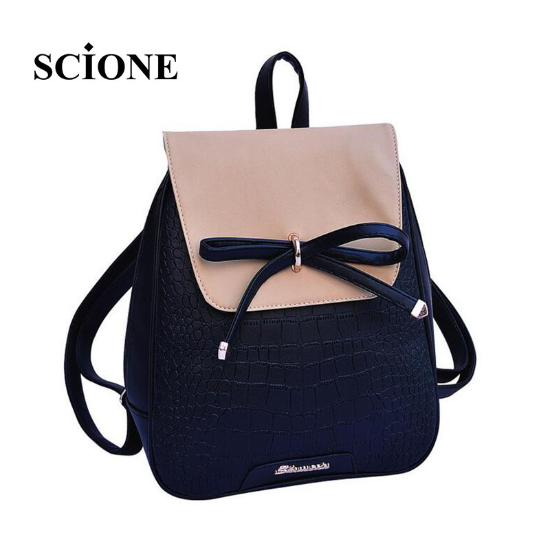 2017 women backpacks bow brand pu leather backpack travel casual bags high quality girls school bag for teenagers 640t vintage casual leather travel bags famous brand school backpacks women bag mochila backpack lovely girls school bags ladies bag