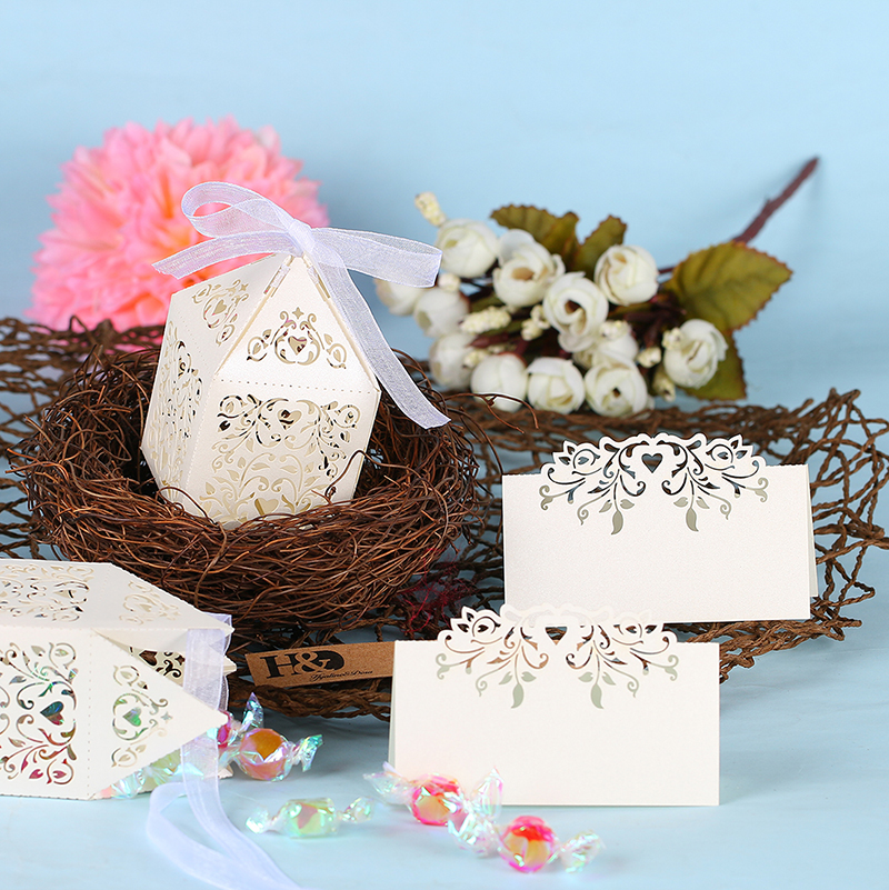 buy 12pcs ivory laser cut flower vine romantic place cards wedding name cards party table decor wedding decoration party supplies from