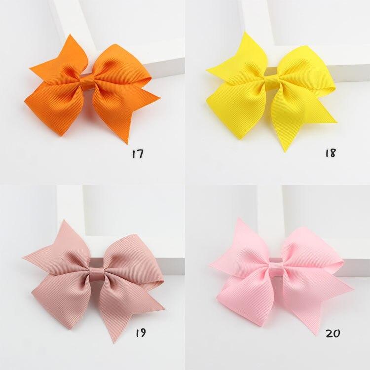 new 20 Colors Solid Grosgrain Ribbon Bows Clips Hairpin Girl's hair bows Boutique Hair Clip Headware Kids Hair Accessories