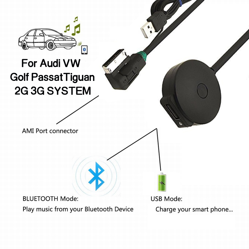 for MMI 3G Only CHELINK AMI MMI MDI Bluetooth Audio Music Adapter Cable for VW Audi A3 A4 Q5 A5 A7 R7 S5 Q7 A6L A8L A4L Series