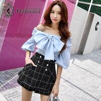 Dabuwawa Off shoulder blouse shirt women Ruffle lantern sleeve blouse streetwear summer top female 2018 Sky Blue Spring Autumn